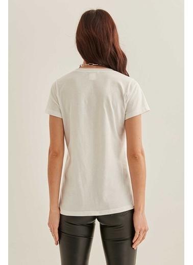 Vitrin V Yaka Kısa Kol Pamuk T-Shirt Beyaz